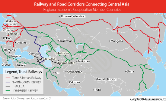 Map Of Asia Railways.Railway And Road Corridors Connecting Central Asia Dezan