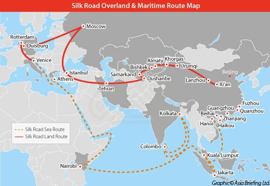 Silk Road Overland & Maritime Route Map