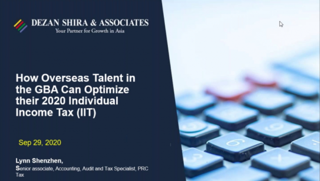 How Overseas Talent in the GBA Can Optimize their 2020 Individual Income Tax