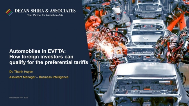 Automobiles in EVFTA: How Foreign Investors Can Qualify for Preferential Tariffs